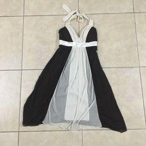 Ruby Rox Cream Strip chiffon flowing halter dress